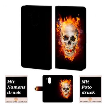 Huawei Mate 8 Handy Hülle mit Bilddruck Totenschädel - Feuer
