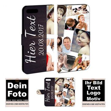 Ledertasche Handhülle für iPhone 8 Plus mit Fotodruck Text Etui