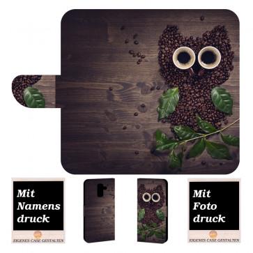 Samsung Galaxy J6 Plus (2018) Handy Tasche mit Kaffee Eule + Bild Druck Etui