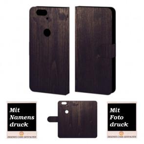 Handy Tasche Hülle mit Holz Optik Bild Druck für Huawei Nexus 6P
