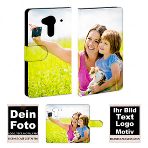 Ledertasche für Acer Liquid Z5 mit Foto und Text zum selbst gestalten.