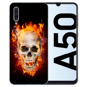 Samsung Galaxy A50s Silikon TPU Hülle mit Fotodruck Totenschädel Feuer