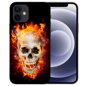 iPhone 12 mini Handy Schutzhülle Tasche mit Fotodruck Totenschädel Feuer