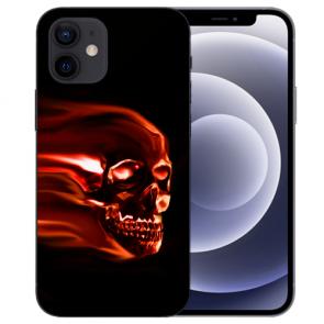 iPhone 12 mini Handy Schutzhülle Tasche mit Fotodruck Totenschädel