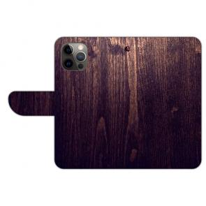 iPhone 12 Pro Max Handyhülle Tasche mit Bilddruck HolzOptik Dunkelbraun
