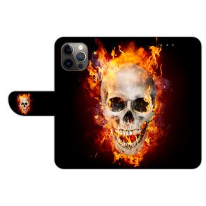 iPhone 12 Pro Max Handyhülle Tasche mit Totenschädel Feuer Bilddruck