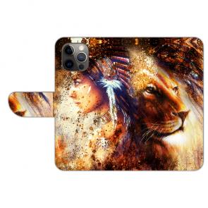 Handy Hülle für iPhone 12 mini Etui mit Bilddruck Löwe Indianerin Porträt