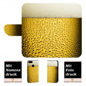 Handy Hülle Tasche für Huawei P Smart mit Bilddruck Bier Text