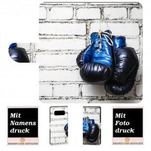 Samsung Galaxy S10 Handy Tasche mit Boxhandschuhe + Bilddruck Text