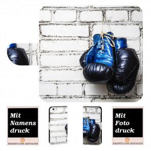 iPhone 6 / 6s Handyhülle Tasche mit Boxhandschuhe + Fotodruck Text