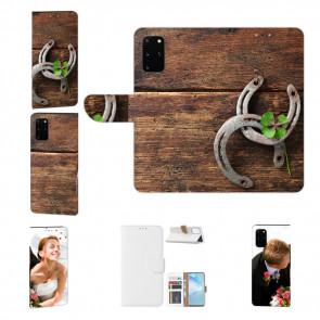 Samsung Galaxy A51 Handy Hülle Tasche mit Bild Druck Holz hufeisen