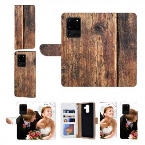 Samsung Galaxy S21 Ultra Handy Hülle mit Bilddruck HolzOptik