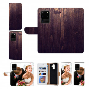 Samsung Galaxy S20 Ultra Handy Hülle mit HolzOptik Dunkelbraun Fotodruck