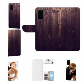 Samsung Galaxy S20 Handy Hülle mit Bilddruck HolzOptik Dunkelbraun