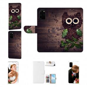 Handy Hülle Tasche mit Bild Druck Kaffee Eule für Samsung Galaxy A51
