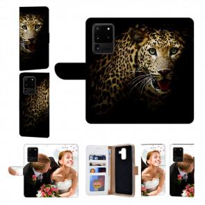 Handyhülle Tasche mit Fotodruck Leopard für Samsung Galaxy S20 Ultra