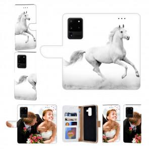 Samsung Galaxy S20 Ultra Handyhülle Tasche mit Pferd Text Fotodruck