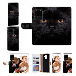 Handy Hülle mit Fotodruck Schwarz Katze für Samsung Galaxy S20 Ultra