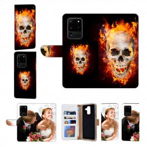 Samsung Galaxy S20 Ultra Handy Hülle mit Fotodruck Totenschädel Feuer