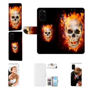 Samsung Galaxy M80s Handy Hülle mit Fotodruck Totenschädel Feuer