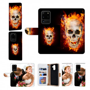 Samsung Galaxy S21 Ultra Handy Hülle mit Bilddruck Totenschädel Feuer