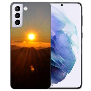 Samsung Galaxy S21 FE Silikon TPU Handy Hülle mit Sonnenaufgang Bilddruck