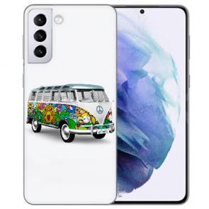 Samsung Galaxy S21 Silikon TPU Hülle mit Bilddruck Hippie Bus Case