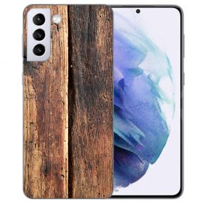 Samsung Galaxy S21 Silikon TPU Hülle mit Bild Namendruck HolzOptik