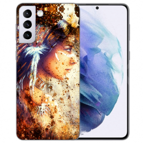 Samsung Galaxy S21 FE Silikon TPU Handy Hülle mit Indianerin Porträt Bilddruck