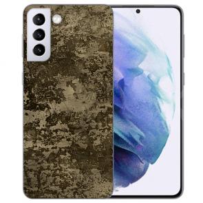 Samsung Galaxy S21 FE Silikon TPU Handy Hülle mit Fotodruck Braune Muster
