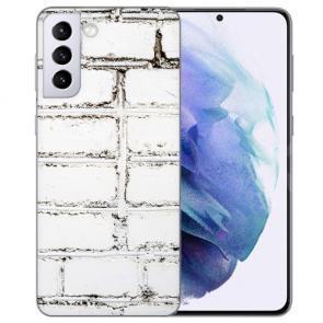 Samsung Galaxy S21 Silikon TPU Hülle mit Fotodruck Weiße Mauer