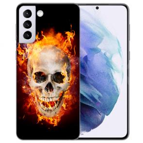 Samsung Galaxy S21 Silikon TPU Hülle Case mit Bilddruck Totenschädel Feuer
