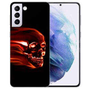Samsung Galaxy S21 Plus Silikon TPU Hülle mit Fotodruck Totenschädel