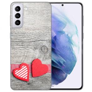 Samsung Galaxy S21 Silikon TPU Hülle mit Bilddruck Herzen auf Holz