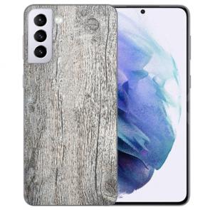 Samsung Galaxy S21 FE Silikon TPU Handy Hülle mit Fotodruck Holzoptik Grau