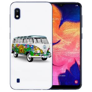 Samsung Galaxy A10 Silikon TPU Hülle mit Bilddruck Hippie Bus Etui