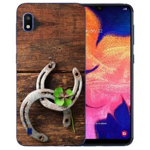 Samsung Galaxy A10 Silikon TPU Hülle mit Holz hufeisen Bilddruck