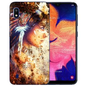 Samsung Galaxy A10 Silikon TPU Hülle mit Bilddruck Indianerin Porträt