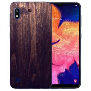 Samsung Galaxy A10 Silikon Hülle mit Bilddruck HolzOptik Dunkelbraun