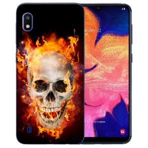 Samsung Galaxy A10 TPU Hülle mit Bilddruck Totenschädel Feuer