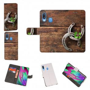 Huawei Y7 2019 / Y7 Prime 2019 Hülle mit Fotodruck Holz hufeisen