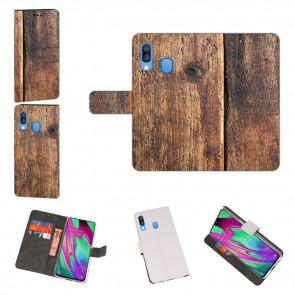 Samsung Galaxy A40 Handyhülle Tasche mit HolzOptik Fotodruck