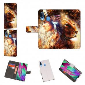 Samsung Galaxy A40 Handyhülle Tasche mit Löwe Indianerin Porträt Fotodruck