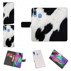 Handyhülle Tasche mit Kuhmuster Bilddruck für Samsung Galaxy A40 Etui