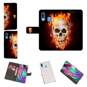 Samsung Galaxy A40 Handy Hülle mit Totenschädel - Feuer Fotodruck