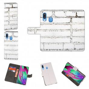 Samsung Galaxy A40 Schutzhülle Handy mit Weiße Mauer Fotodruck Text