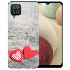 Samsung Galaxy A12 5G TPU Silikon Hülle mit Bilddruck Herzen auf Holz