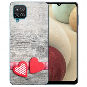 Samsung Galaxy A42 5G Silikon TPU Hülle mit Bilddruck Herzen auf Holz