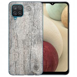 Samsung Galaxy A12 5G TPU Silikon Hülle mit Fotodruck HolzOptik Grau