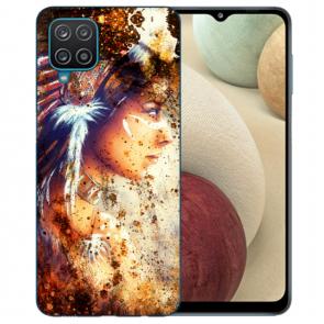 Samsung Galaxy A42 5G Silikon TPU Hülle mit Bilddruck Indianerin Porträt